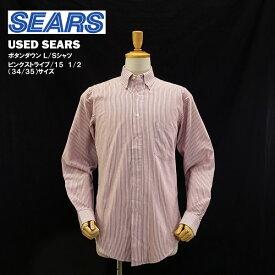 [在庫処分] USED シアーズ ボタンダウン L/S シャツ ピンクストライプ/15 1/2 (34/35) サイズ (SEARS) 【海外直輸入USED品】