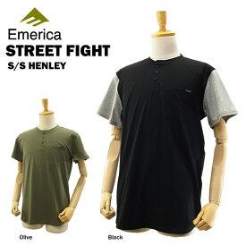 エメリカ ストリートファイト S/S ヘンリー ブラック/Mサイズ スケート スケーターウエアー (Emerica STREET FIGHT S/S HENLEY ヘンリーネックTシャツ)