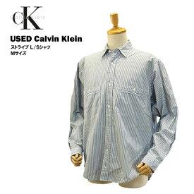 USED カルバンクライン L/S シャツ ブルー ストライプ/Mサイズ(USサイズ) (Calvin Klein) 【あす楽対応】【楽ギフ_包装】【あす楽_土曜営業】【海外直輸入USED品】
