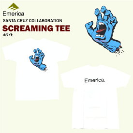 エメリカ×サンタクルーズ スクリーミング Tシャツ ホワイト スケート スケーターウエアー (Emerica×SANTA SRUZ SCREAMING S/S TEE) 【あす楽対応】【楽ギフ_包装】【あす楽_土曜営業】