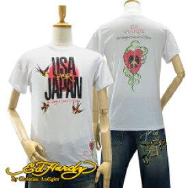エド ハーディー メンズ U.S.A フォー ジャパン S/S クルーネック Tシャツ アート ピース ホワイト 東日本大震災 チャリティー (Mens USA FOR JAPAN S/S Crew Neck Tee Art Peace White ED HARDY EDHARDY エドハーディー)