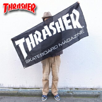 스랏샤바나로고브락크/화이트(플래그기) 스케이트 skater 상품(THRASHER Banner Logo)