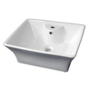 【送料無料】白陶器デザインフィレット角型ベッセル洗面器ボウル Ambest SL3450 オーバーフロー有 洗面ボール 手洗い鉢 洗面ボウル 洗面化粧台 洗面シンク 洗面台 リフォーム 和風 洋風 お洒落