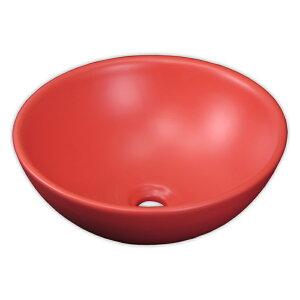 【送料無料】赤いレッド陶器製デザイン丸型手洗器カウンター洗面台洗面器ボウル Ambest SL35M6 オーバーフロー無し 洗面ボール 手洗い鉢 洗面ボウル 洗面化粧台 洗面シンク 洗面台 リフォーム