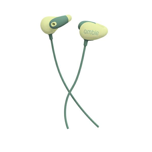 【ambie sound earcuffs(アンビー サウンドイヤカフ)/Cactus Green】イヤホン リモコン付 通話 イヤフォン 有線 ながら聞き 耳にいれない 送料無料