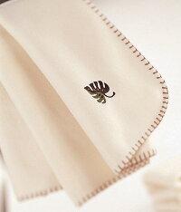 ハーフブランケット:エコリーフひざ掛け:ワンポイントリーフの刺繍