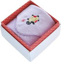 タオルハンカチ:縁起物!亀柄刺繍