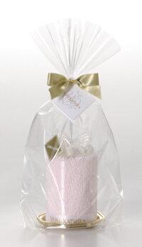桂由美:蝶タオルケーキ:巾着留めパッケージ:中身の色は違います