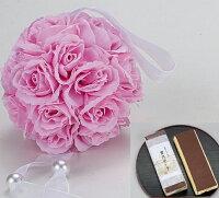 香るアートフラワー:ローズボール:ピンクとタオル和菓子カステラセット