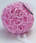 アートフラワー:ローズボール:ピンク