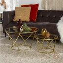 Walker Edison Furniture ガラストップ テーブル 大小セットアメリカ輸入家具 アメリカ輸入雑貨 アクセントテーブル…
