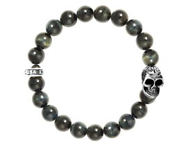KING BABY キングベイビー 10MM BLUE TIGER EYE BEAD BRACELET w/ DOTD SKULL スカル ブレスレット