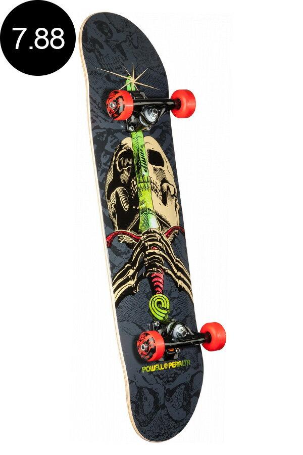 【POWELL PERALTA パウエル・ペラルタ】7.88in x 31.67in SKULL AND SWORD GREY/BLACK ONE OFF COMPLETEコンプリートデッキ(完成組立品)スケートボード エントリーモデル(初心者にもおすすめ)スケボー skateboard sk8【1710】