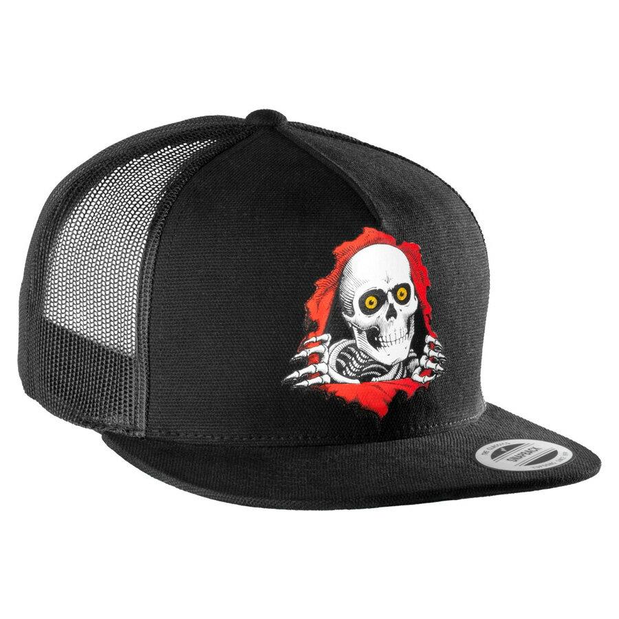 【POWELL PERALTA パウエル・ペラルタ】RIPPER FLEX-FIT CAP BLACKメッシュキャップ ブラック トラッカー 帽子 スケートボード スケボー sk8 skateboard オールドスクール【17SS】