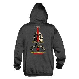 【POWELL PERALTA パウエル・ペラルタ】SKULL AND SWORD HOODED SWEATHSIRT CHARCOALスウェットフード チャコール パーカー レイ・ロドリゲス スケートボード スケボー sk8 skateboard オールドスクール【18FW】(CP)