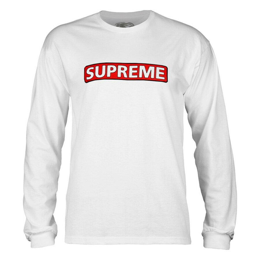 【POWELL PERALTA パウエル・ペラルタ】SUPREME L/S SHIRT WHITEロングスリーブTシャツ ホワイト シュプリーム ロンT 長袖 スケートボード スケボーsk8 skateboard【18SS】(CP)