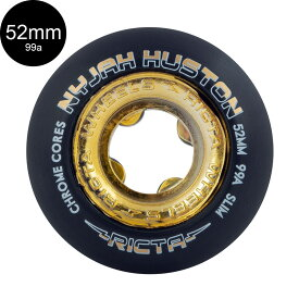 【RICTA リクタ】52mm NYJAH HUSTON CHROME CORE BLACK/GOLD SLIM 99A WHEELSウィール クロームコア ナイジャ・ヒューストン スケートボード スケボー sk8 skateboard【1910】