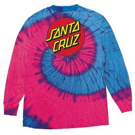 【SANTA CRUZ サンタクルーズ】CLASSIC DOT REGULAR L/S SHIRT MENS FLOW BLUE/PINKロングスリーブTシャツ フローブルー/ピンク クラシックドット タイダイ スケートボード スケボーsk8 skateboard【19SS】