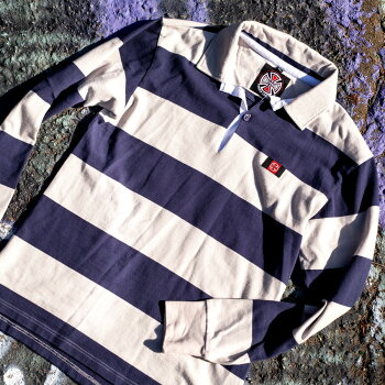 SCRUM RUGBY L/S MENS LIGHT GREY/NAVY