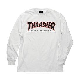 【INDEPENDENT インディペンデント】THRASHER TTG REGULAR L/S SHIRT MENS WHITEロングスリーブTシャツ ホワイト ロンT 長袖 スラッシャー マガジン スケートボード スケボー sk8 skateboard【18FW】