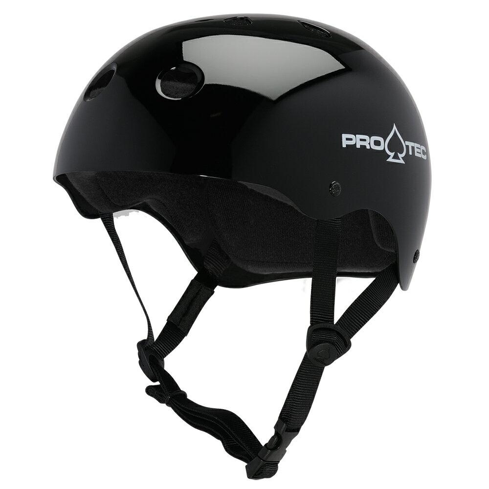 【PRO-TEC プロテック】CLASSIC SKATE GLOSS BLACKヘルメット グロスブラック 黒 プロテクター スケートボード スケボー sk8 skateboard BMX インライン【1704】