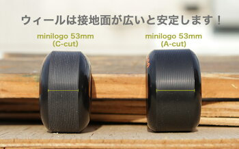 【MINILOGOミニロゴ】WHEELA-CUT53MM90ABLACK(4pacK)ソフトウィールブラックスケートボードスケボーsk8skateboard高性能ウレタン使用
