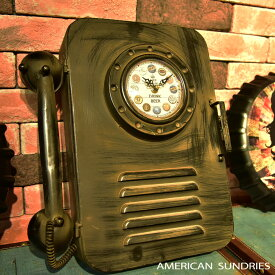 時計 置時計 アメリカン雑貨 雑貨 アメリカ雑貨 収納 アンティーク レトロ オブジェ ビンテージ ガレージ 電話機風