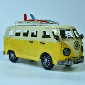ブリキのおもちゃ 置物 アメリカン雑貨 ヴィンテージ オブジェ インテリア小物 レトロ ワーゲンバス イエロー ミニカー レトロインテリア