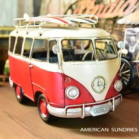 ブリキのおもちゃ 置物 アメリカン雑貨 ヴィンテージ オブジェ インテリア小物 レトロ ワーゲンバス レッド ミニカー レトロインテリア