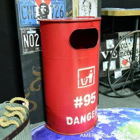 アメリカン雑貨 アメリカ雑貨 雑貨 ビンテージ風 オイル缶 ブリキ缶 収納 ゴミ箱 ダストボックス レッド トラッシュボックス インテリア