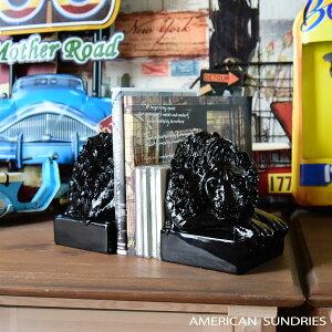 アメリカン雑貨 アメリカ雑貨 雑貨 本立て ライオン 動物 インテリア モダン 置物 オブジェ ブラック 可愛い プレゼント おしゃれ
