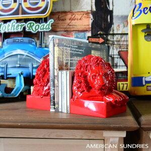 アメリカン雑貨 アメリカ雑貨 雑貨 本立て ライオン 動物 インテリア モダン 置物 オブジェ レッド 可愛い プレゼント おしゃれ