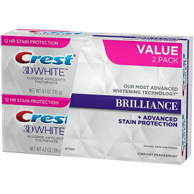 Crest 3D White Brilliance Toothpaste Vibrant Peppermint クレスト 3D ホワイト バイブラント ペパーミント 4.1 oz.  2 本セット