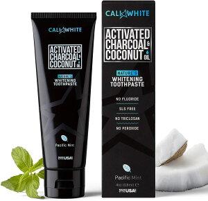 Cali White Activated Charcoal & Organic Coconut Oil Teeth Whitening Toothpaste Pacific Mint (4oz) / カリホワイト 活性炭 & オーガニックココナッツオイル 歯磨き粉 ホワイトニング チャコールパウダー [パシフィッ