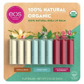 eos USDA Organic Smooth Lip Balm, 9 Sticks / イオス オーガニック 100%ナチュラル リップバーム 3種の香り 9本入り