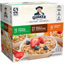 Quaker Instant Oatmeal, Variety 52 ct / クエーカー インスタント 全粒オートミール 3種類 52パック入り