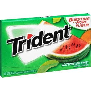【訳あり】Trident Sugar Free Gum Watermelon Twist 12 Packages トライデント シュガーフリーガム ウォーターメロンツイスト味 14枚入り×12箱【消費期限2020年10月29日】