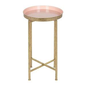 ピンクのサイドテーブル Kate and Laurel テーブル アメリカ輸入家具 丸いテーブル トレイ サイドテーブル ゴール アメリカーナがお届け!