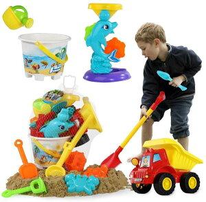 テミ TEMI ピーチで砂遊びセット (水車、ダンプトラック、バケツ、ショベル、くま手、ジョウロなど11個) 幼児玩具 アメリカーナがお届け!