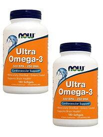 【お得な2本セット】NOW ULTRA OMEGA 3 FISH OIL 180 SGELS #1662 ナウ ウルトラオメガ3(EPA&DHA)180ソフトカプセル