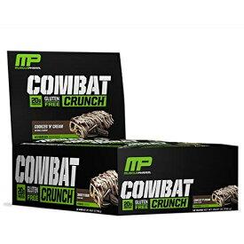 マッスルファーム コンバットクランチプロテインバー クッキー&クリーム味 12本セット 20gプロテイン MusclePharm Combat Crunch Protein Bar, Multi-Layered Baked Bar, 20g Protein Cookies 'N' Cream, 12 Bars
