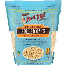 Bob's Red Mill Extra Thick Rolled Oats, Whole Grain 32oz / ボブズレッドミル エクストラシック 厚め ロールドオーツ 全粒 オートミール オーツ麦 907g