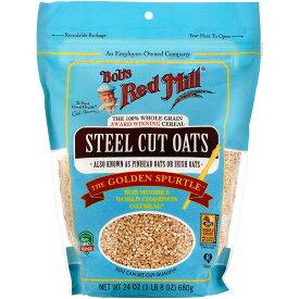 Bob's Red Mill Steel Cut Oats, Whole Grain 24oz / ボブズレッドミル スチールカット ロールドオーツ 全粒 オートミール オーツ麦 680g
