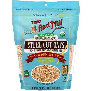 Bob's Red Mill Steel Cut Oats, Whole Grain 24oz / ボブズレッドミル オーガニック スチールカット ロールドオーツ 全粒 オートミール オーツ麦 680g