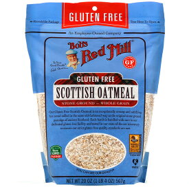 Bob's Red Mill Scottish Oatmeal Stone Ground Gluten Free, 20oz / ボブズレッドミル スコティッシュ オートミール 石臼挽き 全粒 グルテンフリー 567g