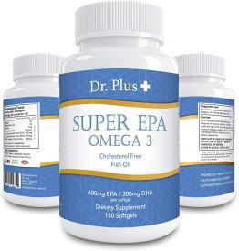 高濃度スーパーフィッシュオイル 2500mg EPA800mg DHA 500mg オメガ3 180 ソフトジェル 90日分 /Super fish Oil 2500mg EPA 800mg DHA 500mg Omega 3 180 Softgels 90days Dr.Plus + ドクター プラス Made in USA