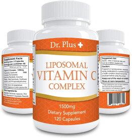 高濃度ビタミンC リポソーム 1500mg 120 カプセル [2ヶ月分] /Liposomal Vitamin C 1500mg 120 Caps 2month supply Made in USA