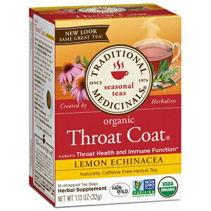 【訳あり】Traditional Medicinals Organic Throat Coat Lemon Echinacea 1.13oz トラディショナルメディシナル  スロートコート オーガニック カフェインフリー ハーブティー 喉と免疫機能 レモン エ