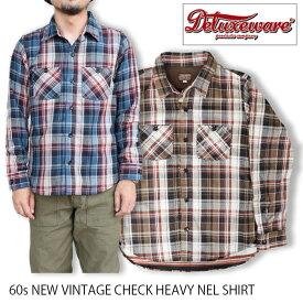 DELUXEWARE デラックスウェア 60年代 ニュー ヴィンテージ HEAVY NEL SHIRTS ネルシャツ チェックシャツ 日本製 送料無料 39ショップ HV-39