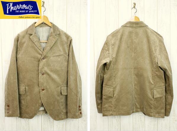 Pherrow's フェローズ 太畝コーデュロイサックコート(日本製) コーデュロイジャケット 17W-PWSC1 ベージュ